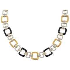 18 Karat Yellow Gold Black Onyx and Diamond Necklace