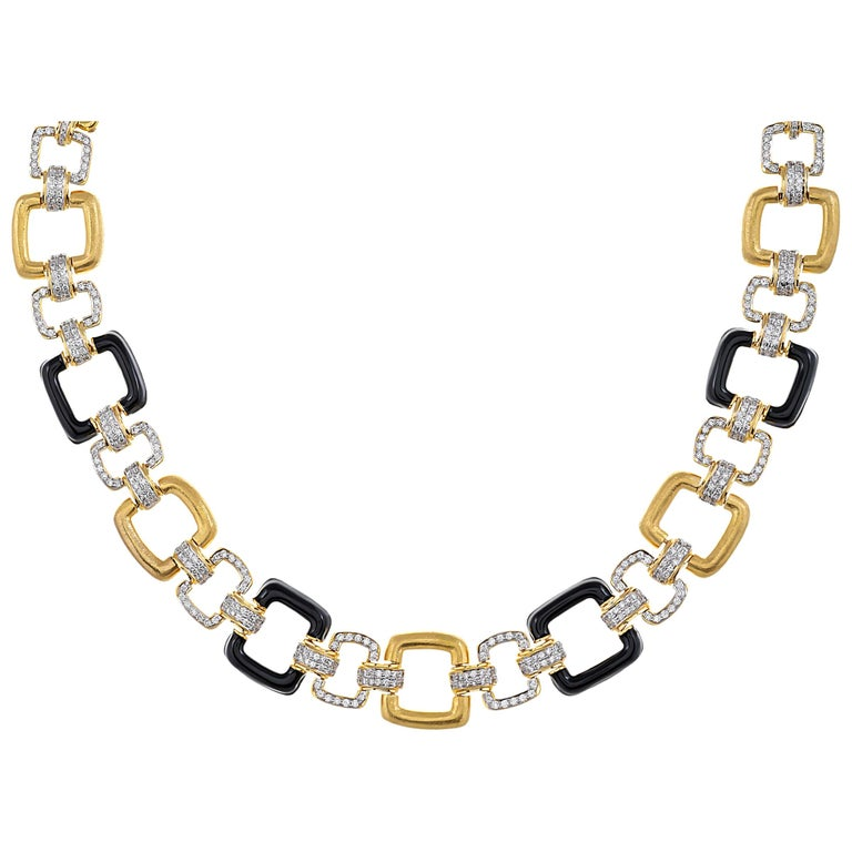 18 Karat Yellow Gold Black Onyx and Diamond Necklace For Sale