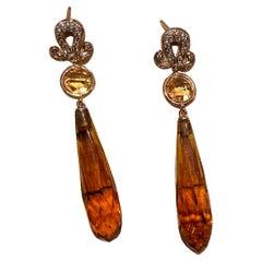 18 Karats Yellow Gold Dangle Citrine 0.20 Karat Diamonds Deco Style Earrings