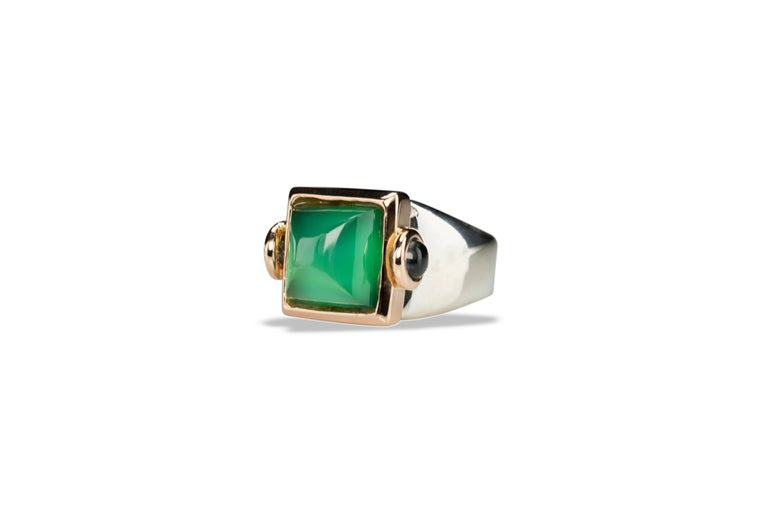 Art Deco Style Rossella Ugolini 18Karat Yellow Gold Green Agate Tourmaline Silver Cocktail Ring also available in Platinum on request. Size available: 10, other sizes available in two weeks by message  This rings comes from the collection Castles of