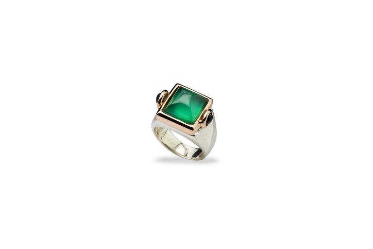 Mixed Cut Art Deco Style 18 Karat Yellow Gold Green Agate Tourmaline Silver Cocktail Ring For Sale