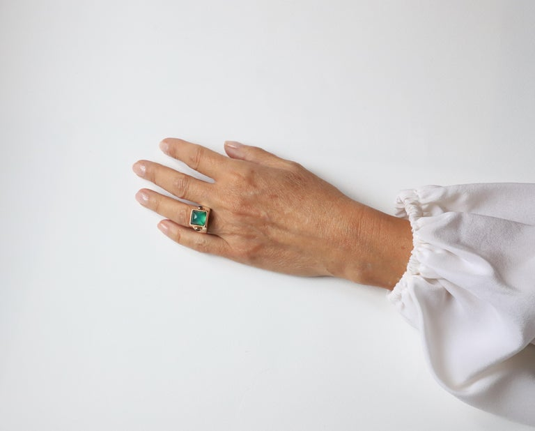 Art Deco Style 18 Karat Yellow Gold Green Agate Tourmaline Silver Cocktail Ring For Sale 3