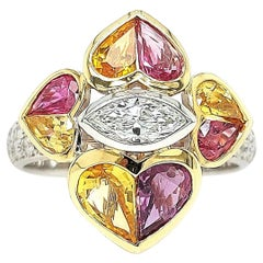 18 Kt Bi Color Ring, 0.85 Carat Diamonds & 2.47 ct Heart Cut Rubies and Sapphire