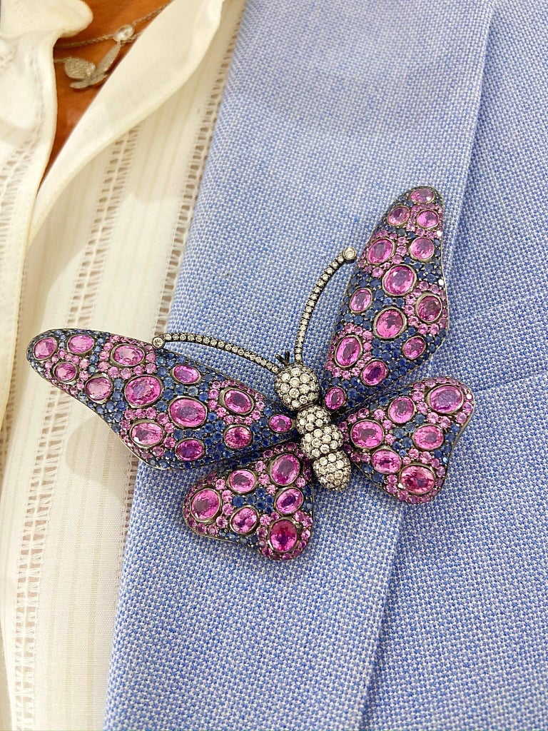 Women's or Men's 18 Karat Blackened Gold Butterfly Brooch with Diamonds, Pink and Blue Sapphires For Sale