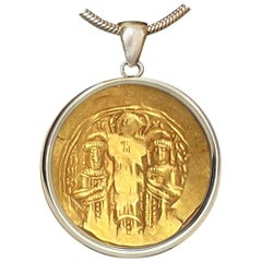18 Kt Byzantine Gold Coin Depicting Emp. Andronicus, Michael and Christ Pendant