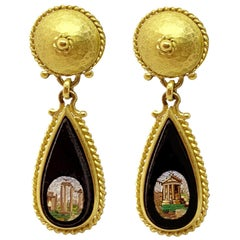 18 Karat Gold and Micromosaic Earrings 'Mid-19th Century' with Rome Monuments