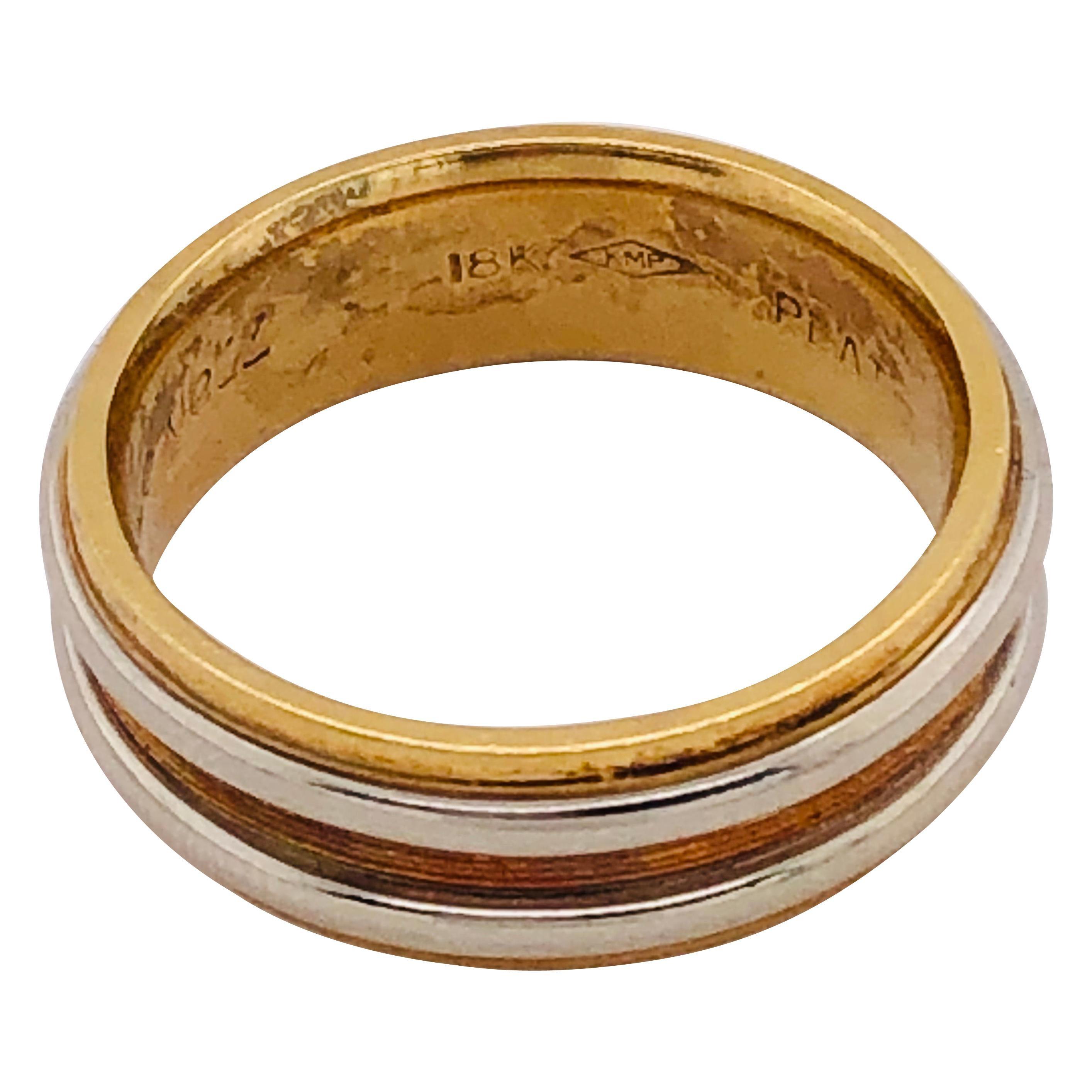 18 Karat Gold and Platinum Band Ring Wedding Bridal Ring
