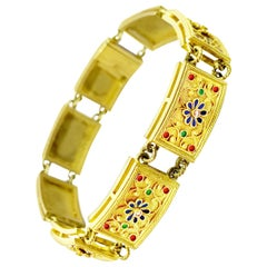 18 Karat Gold Bracelet with Diamonds and Polychrome Enamels