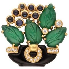 18 Kt Gold Diamond Chrysophrase Onyx Sapphire Bouquet De Fleurs Cartier Brooch
