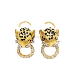 18 kt gold & diamonds panther earrings