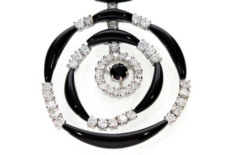 Women's 18 Kt Gold Earrings with Diamonds and Onyx For Sale