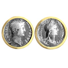 18 Kt Gold Earrings with Genuine Roman Coin Depicting Emperor Hadrian and Sabina