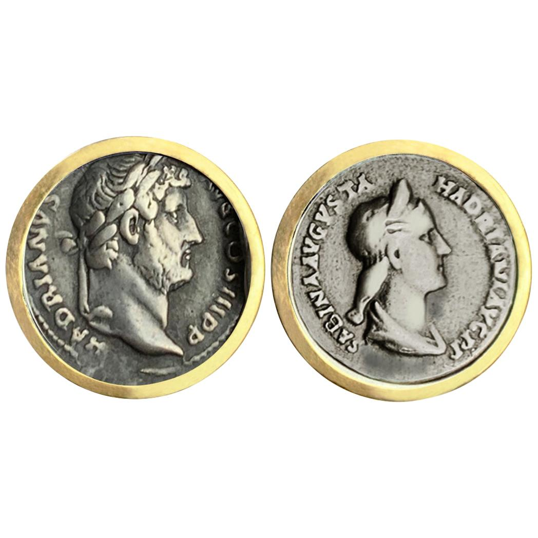 Roman Coin Depicting Emperor Hadrian and Sabina 18 Kt Gold Earrings 2nd cent AD