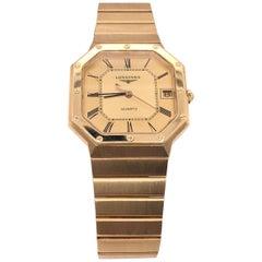 18 Karat Gold Longines Octagon Quartz Men's Dress Watch with 18 Kt Gold Bracelet
