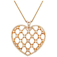 18 Karat Pink Gold Heartshaped Necklace, Pendant Set With 2.30 Carat Diamonds