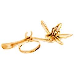 18 Karat Gold Art Nouveau Artist Orange Flower Cocktail Ring, Feat, in Vogue