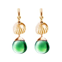 18 Karat Rose Gold Fig Cocktail Earrings with Green Quartz by the Artist