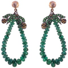 18 Kt Rose Gold Gr.5,00, Emerald Beads Ct. 33,38, Tsavorite and Garnet, Earrings