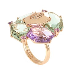 18 kt Rose Gold Les Gemmes Ring with Amethyst and Diamonds