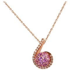 18 Karat Gold Pink Sapphires White Diamonds Garavelli Ball Pendant with Chain