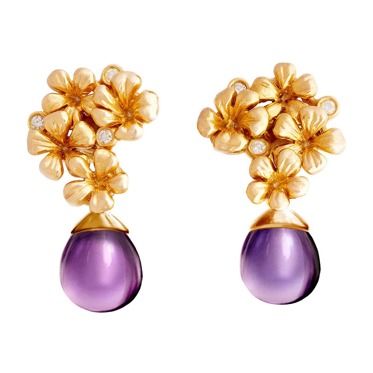 18 Kt Rose Gold Plum Flowers Contemporary Drop Earrings with 6 Round Diamonds