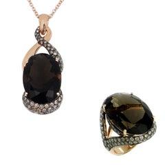 18 Karat Gold Smoky Quartz and Brown Diamonds Garavelli Pendant and Ring Set
