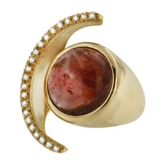 18 Kt Rose Gold with Pink Tourmaline and Diamonds Ring