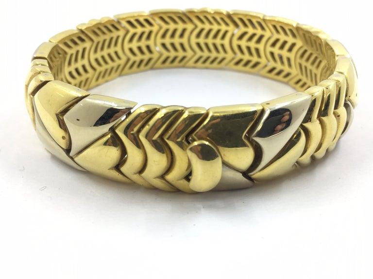 Art Deco 18 Karat White and Yellow Gold Bracelet For Sale