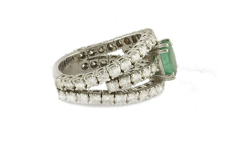 Contemporary Emerald  Diamonds White Gold Engagement Ring For Sale