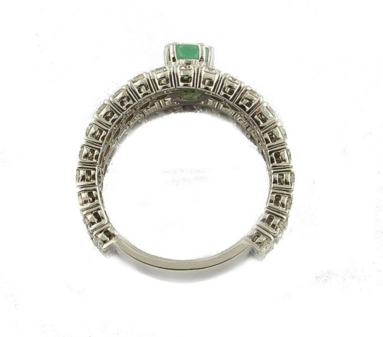 Women's Emerald  Diamonds White Gold Engagement Ring For Sale