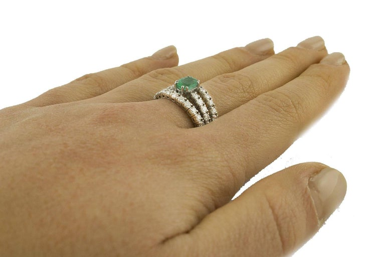 Emerald  Diamonds White Gold Engagement Ring For Sale 3