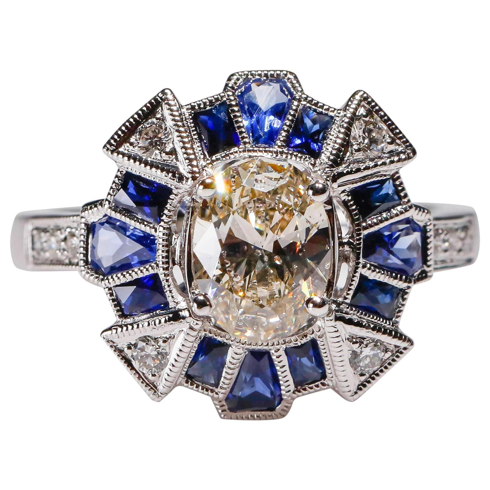 18 Kt Gold 1.17 Carat Diamond 1 Carat Blue Sapphire Round Cocktail Dome Ring