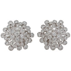 18 Karat White Gold, 3.10 Carat Brilliant Cut Diamonds, Clip-On / Stud Earrings
