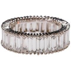 18 Karat White Gold 9.0 Carat Diamond Eternity Baguette Band Ring