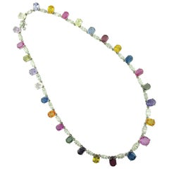18 KT White Gold Natural Multicolored Sapphire Necklace with 27 Oval Sapphires