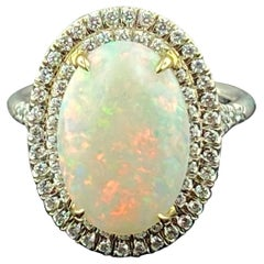 18 Karat White Gold Opal and Diamond Ring
