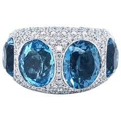 18 Kt White Gold Semi Precious Stoned 15 Ct. Topaz and 5 Carat Diamond Pavé Ring