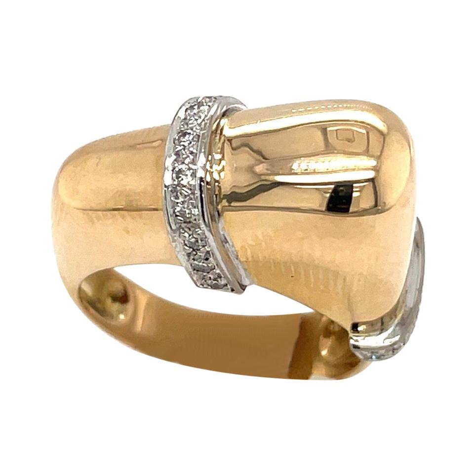 18 Kt Yellow Gold and .18ct. Diamond Assymetrical Ring