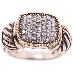 18 Karat Yellow Gold and Sterling Silver with Diamond Cluster Center Ring