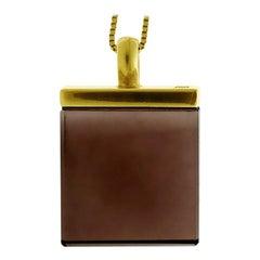 18 Karat Gold Pendant Necklace with Smoky Quartz, Feat. in Vogue UA