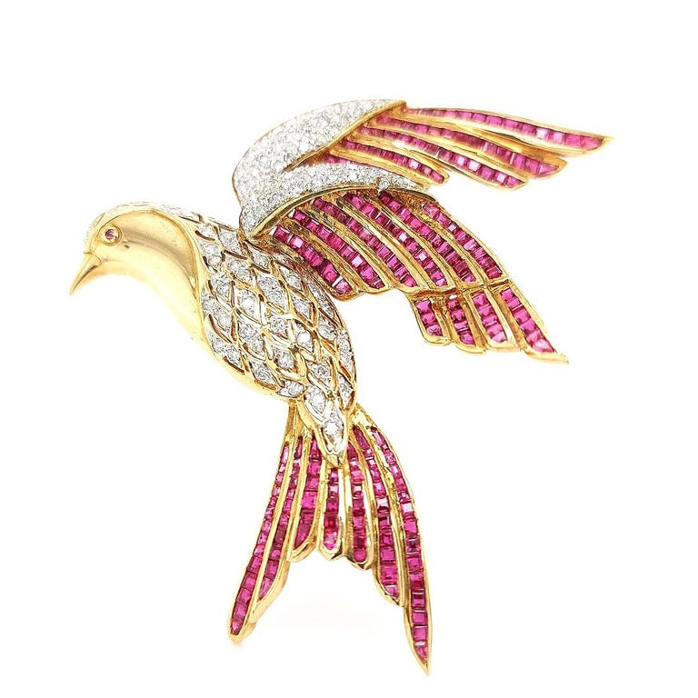 Artisan 18 Karat Yellow Gold Bird of Paradise Brooch / Pendant with Diamonds and Ruby For Sale
