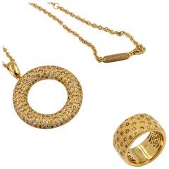 18 Karat Yellow Gold Brown Diamonds Garavelli Ring and Pendant Set of Two Pieces