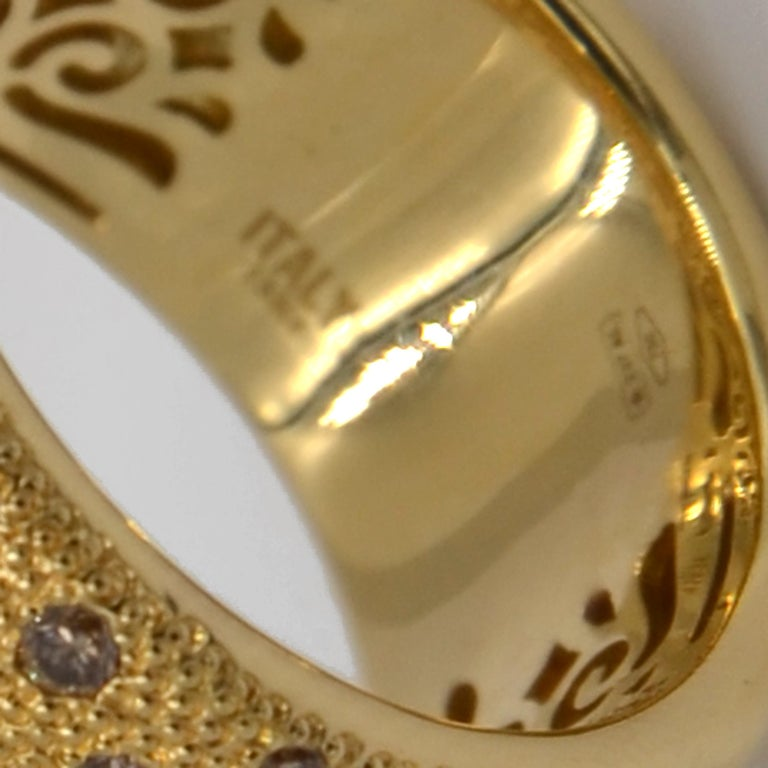 18 Karat Yellow Gold Brown Diamonds Garavelli Band Ring In New Condition For Sale In Valenza, IT