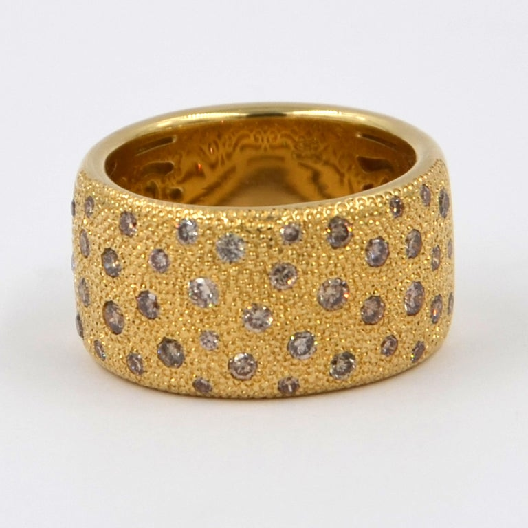 Women's 18 Karat Yellow Gold Brown Diamonds Garavelli Band Ring For Sale