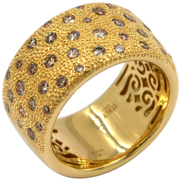 18 Karat Yellow Gold Brown Diamonds Garavelli Band Ring For Sale