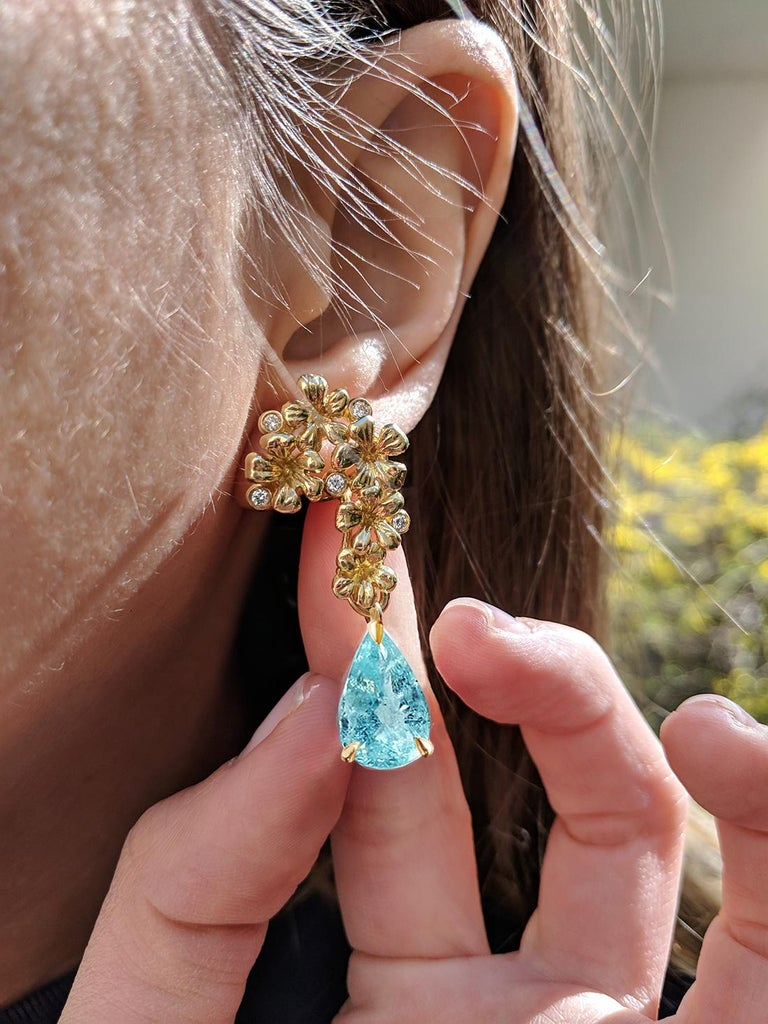 Pear Cut 18 Karat Gold Cocktail Earrings with Diamonds and Blue Paraiba Tourmalines For Sale