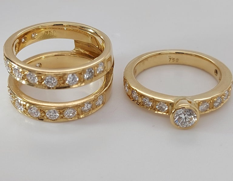 18 Karat Yellow Gold Detachable Diamond Ring and Engagement Ring For Sale 10