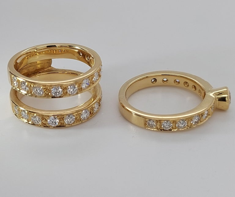 18 Karat Yellow Gold Detachable Diamond Ring and Engagement Ring For Sale 11
