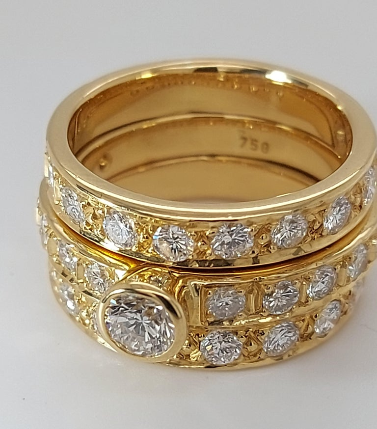 Glamorous 2 piece yellow gold diamond ring, Can be separated and used as wedding and engagement ring  Diamond: The main diamond is ca. 0,5 ct and is surrounded by another 34 diamonds =2,04+0,5= 2,54 ct total weight of diamonds from beautiful