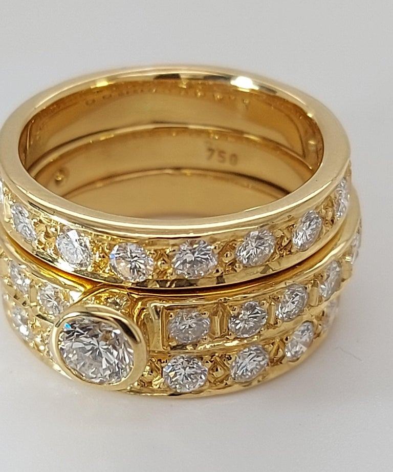 Modern 18 Karat Yellow Gold Detachable Diamond Ring and Engagement Ring For Sale